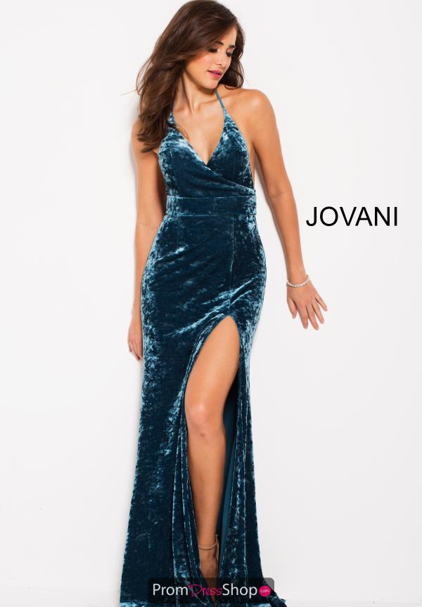 Jovani Long V Neck Dress 55194
