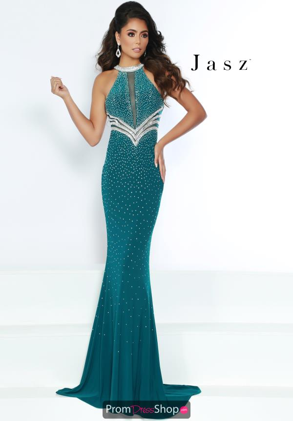 Jasz Couture High Neck Beaded Dress 6420