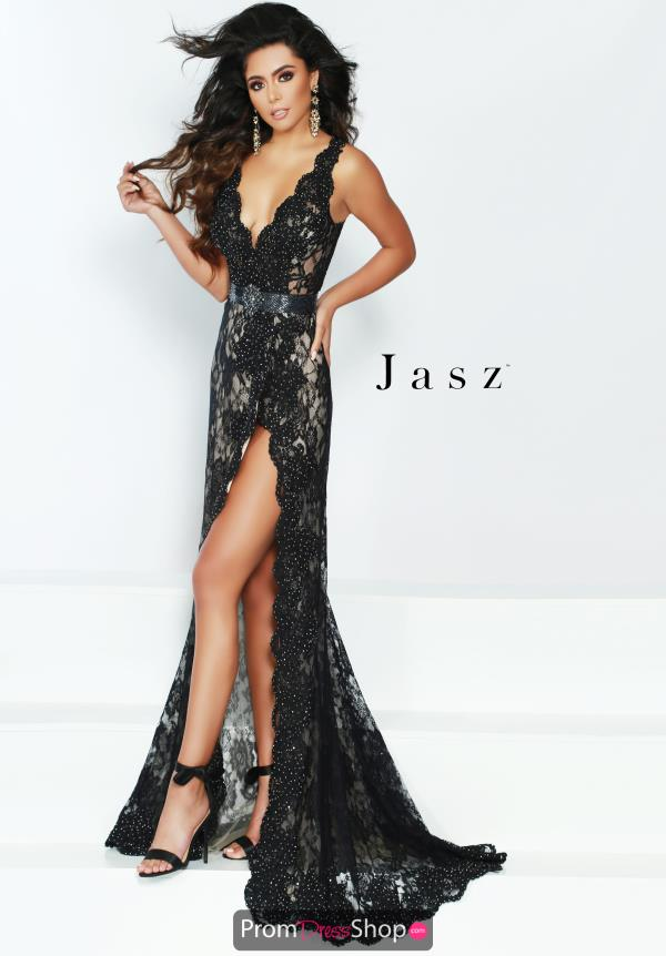 Jasz Couture Fitted Lace Dress 6427