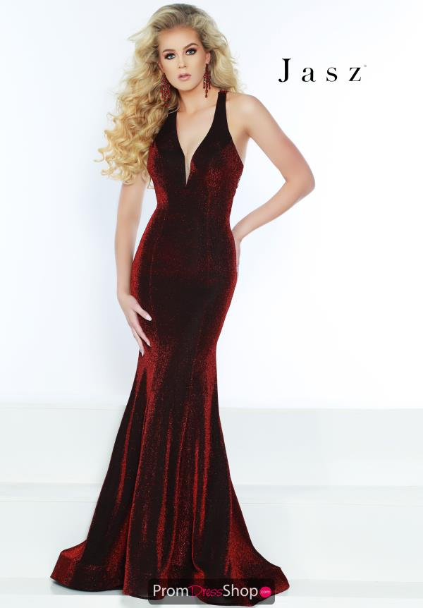 Jasz Couture Stretch Glitter Fitted Dress 6438