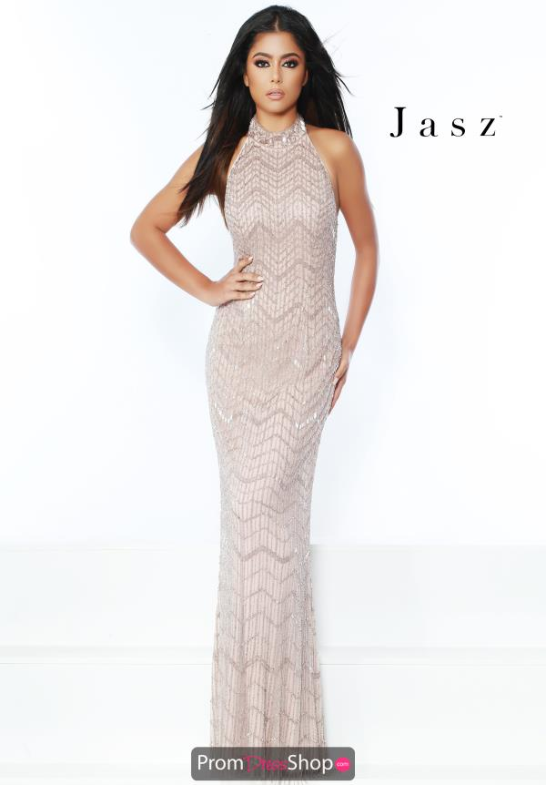 Jasz Couture High Neck Beaded Dress 6445