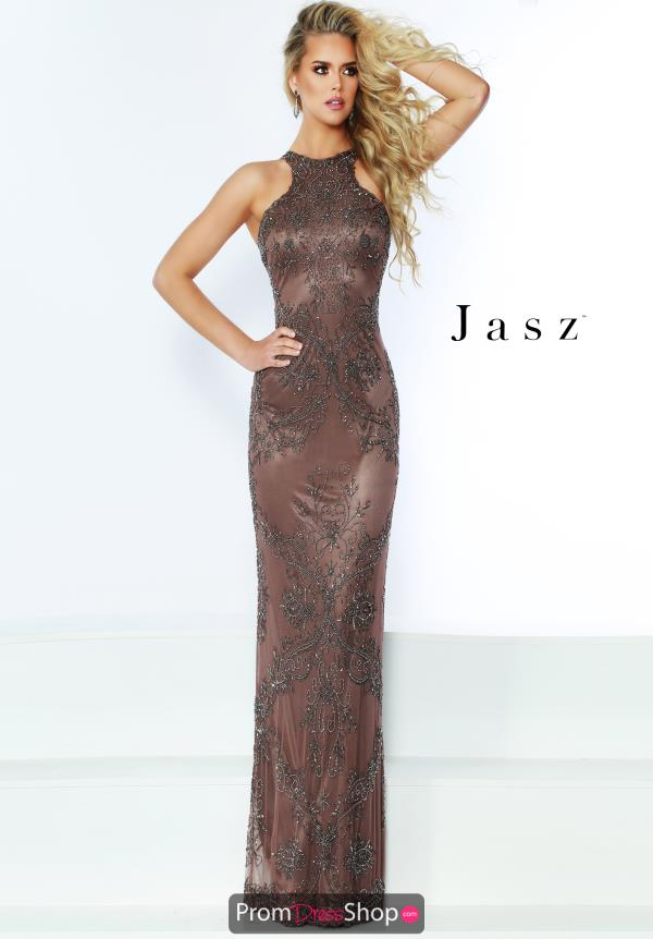Jasz Couture High Neck Fitted Dress 6446