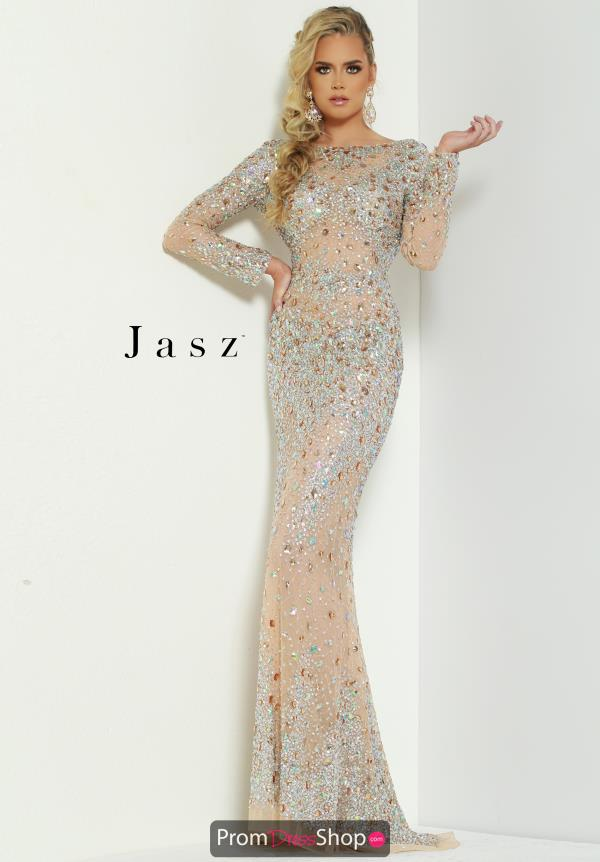 Jasz Couture Long Sleeve Beaded Dress 6455
