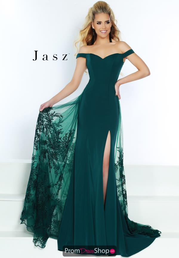 Jasz Couture Lace Overlay Jersey Dress 6461
