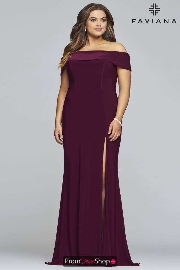 Faviana Off the Shoulder Fitted Dress 9441