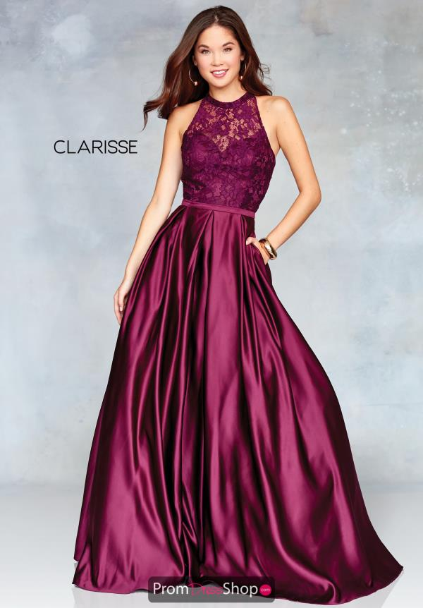 Clarissa High Neckline Satin Dress 3763