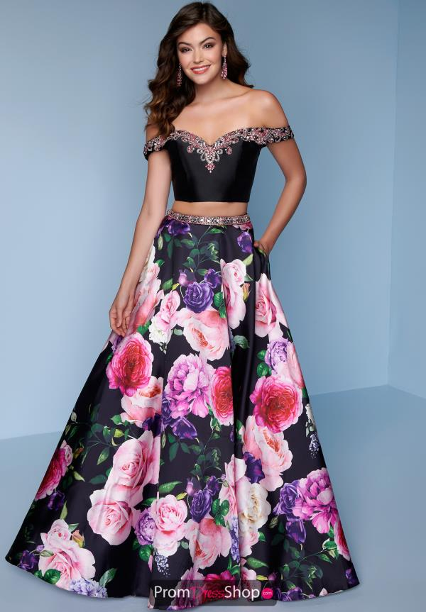 Splash Two Piece Floral Print Gown K120
