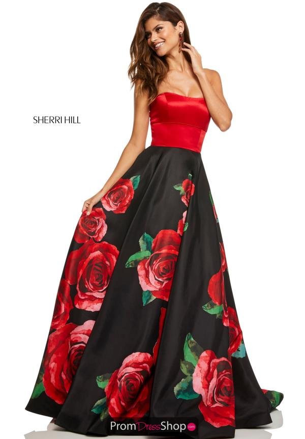 Sherri Hill Floral Long Dress 52722