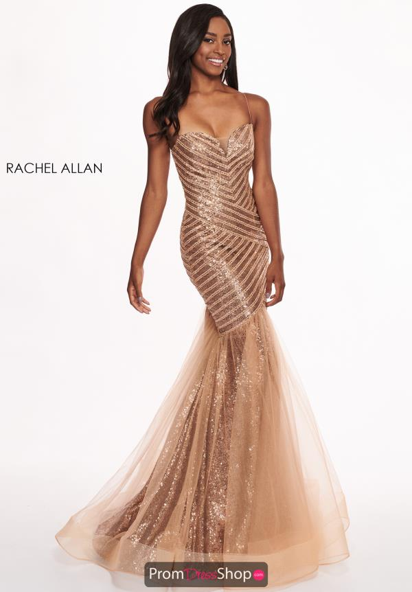 Rachel Allan Fitted Sequined Mermaid Dress 6513