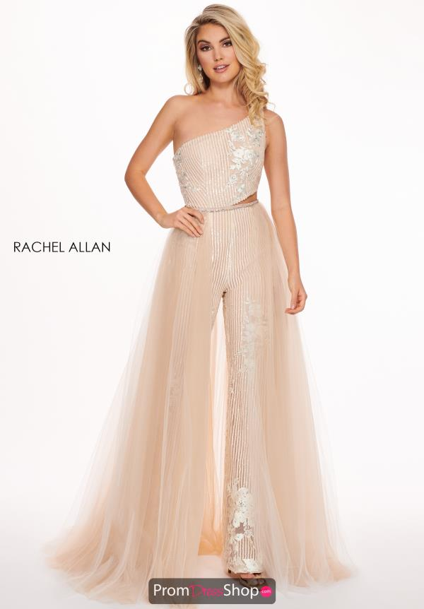 Rachel Allan One Shoulder Jumpsuit with Overlay 6527