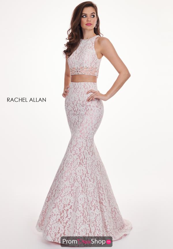 Rachel Allan Two Piece Beaded Lace Mermaid Dress 6578