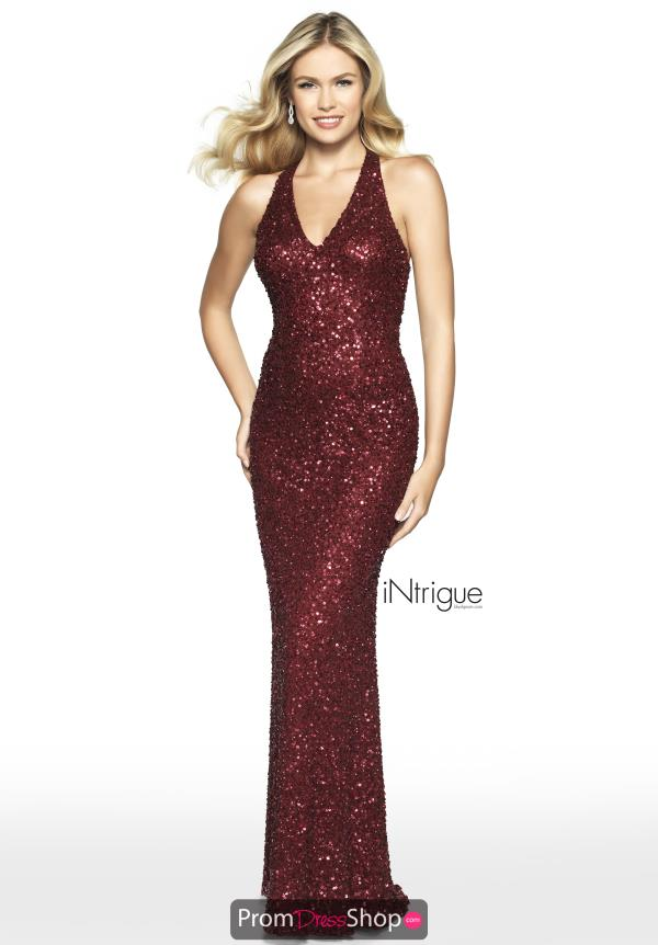 Intrigue by Blush Halter Beaded Dress 565
