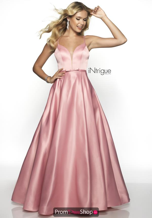 Intrigue by Blush V-Neck Satin Dress 573