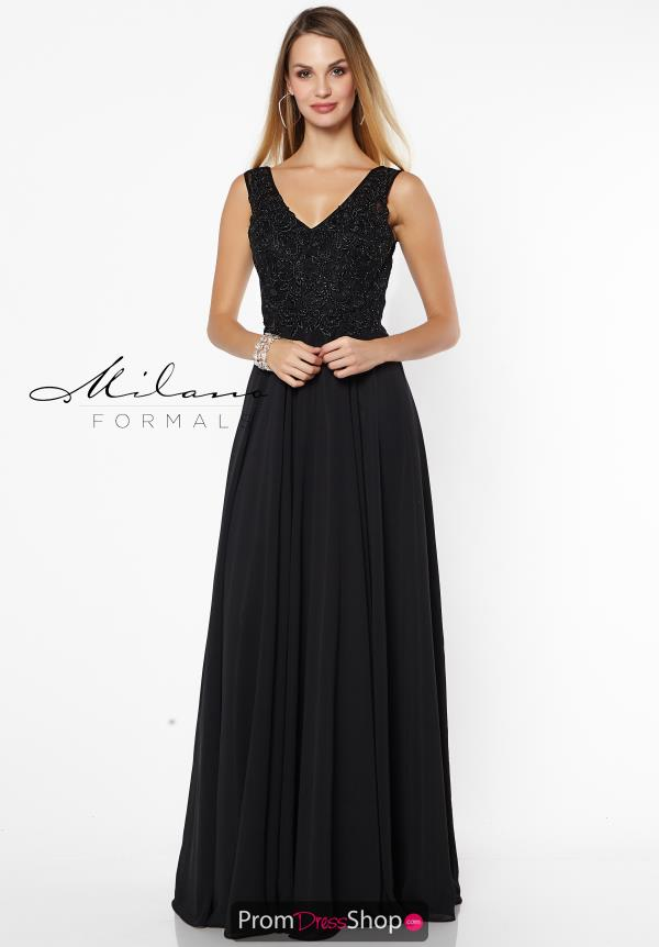 Milano Formals Black A Line Dress E2574