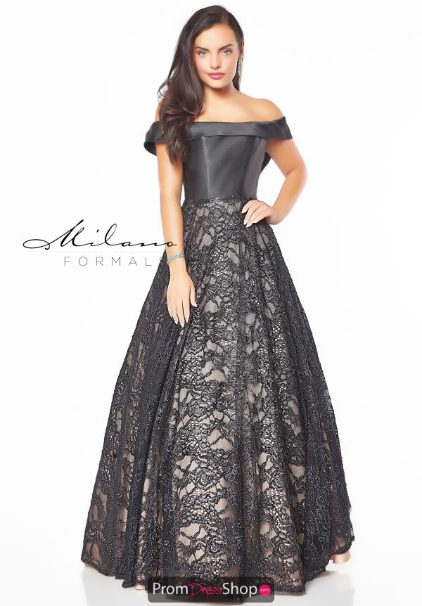 Milano Formals Off the Shoulder Black Dress E2774