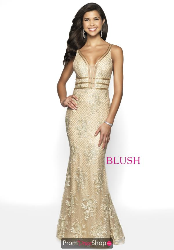Blush Fitted Gold Dress 11705