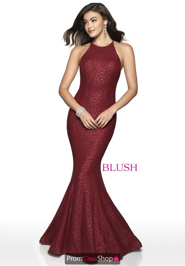Blush High Neckline Mermaid Dress 11711