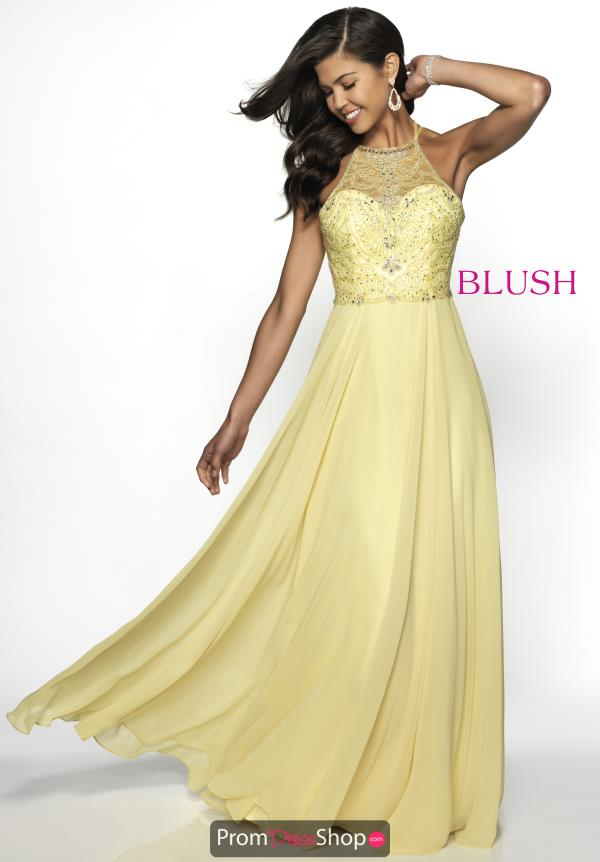 Blush High Neckline Beaded Dress 11734