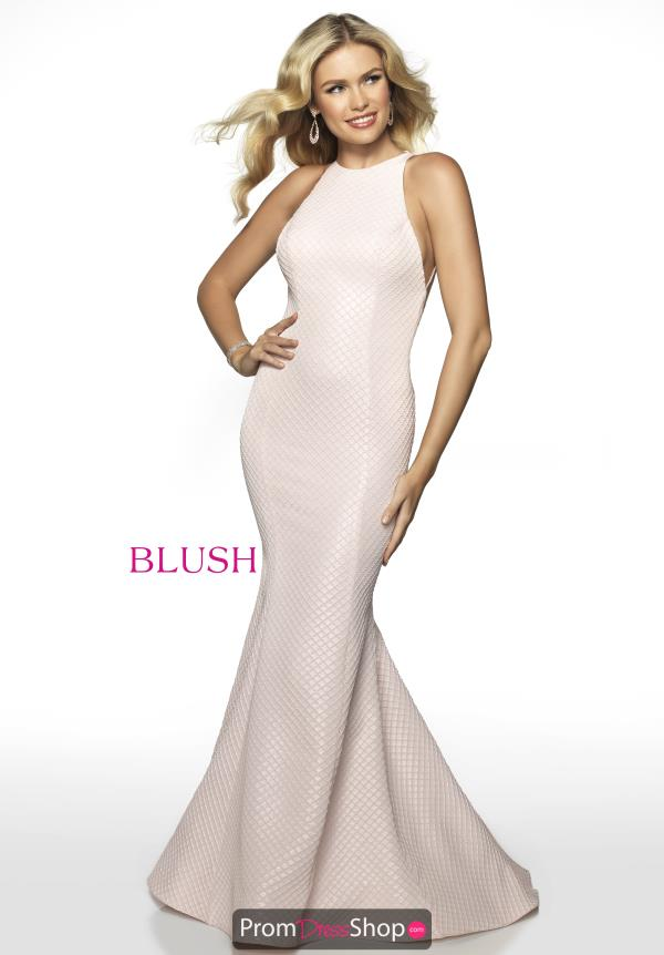 Blush Long High Neckline Dress 11737