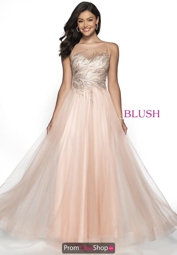 Blush High Neckline Beaded Dress 11748