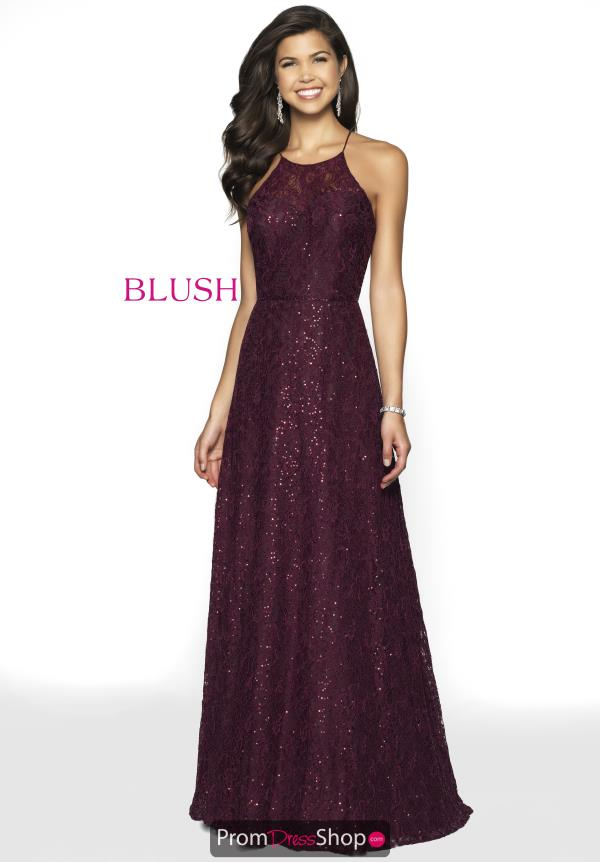 Blush High Neckline Long Dress 11777
