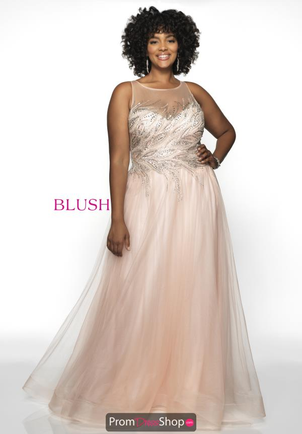 Blush Too High Neckline Beaded Dress 11748W