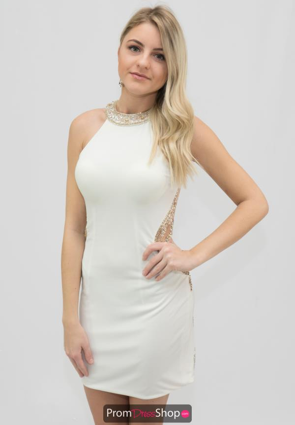 Blush Jersey Cocktail Fitted Ivory Party Dress C312
