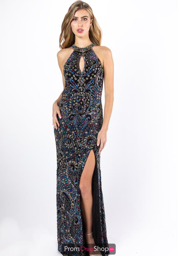 Primavera Halter Top Fitted Prom Dress 3219