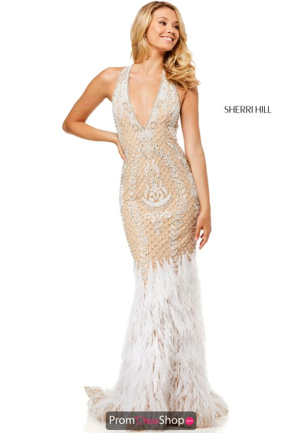 Sherri Hill Feather Fitted Dress 52518