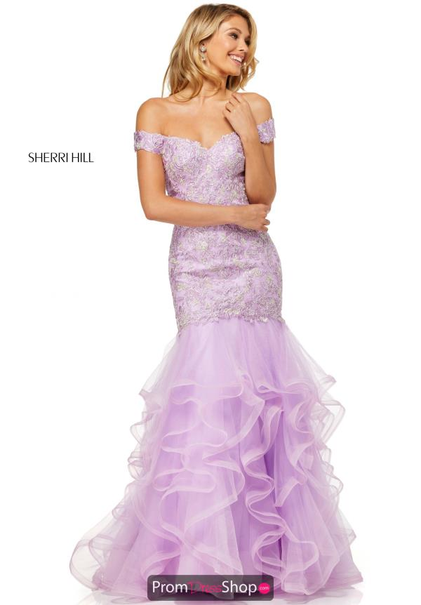 Sherri Hill Off the Shoulder Lace Dress 52559