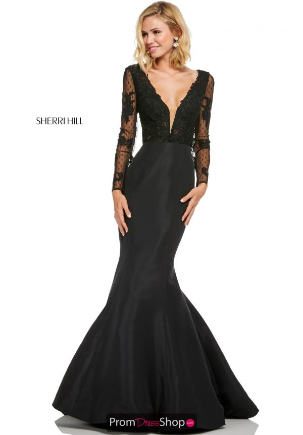 Sherri Hill V- Neckline Fitted Dress 52766