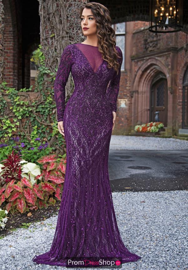 Primavera Sleeved Fitted Prom Dress 3192
