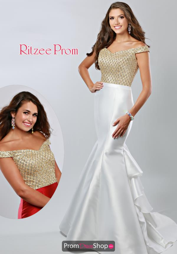 Ritzee Off the Shoulder Beaded Prom 1950