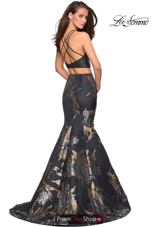 La Femme Long Black Dress 27083
