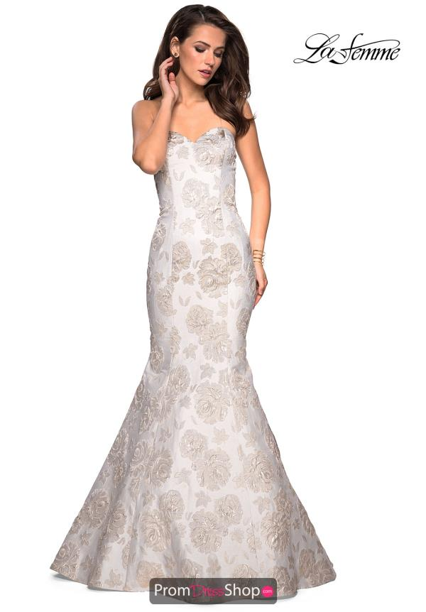 La Femme Fitted Lace Dress 27275