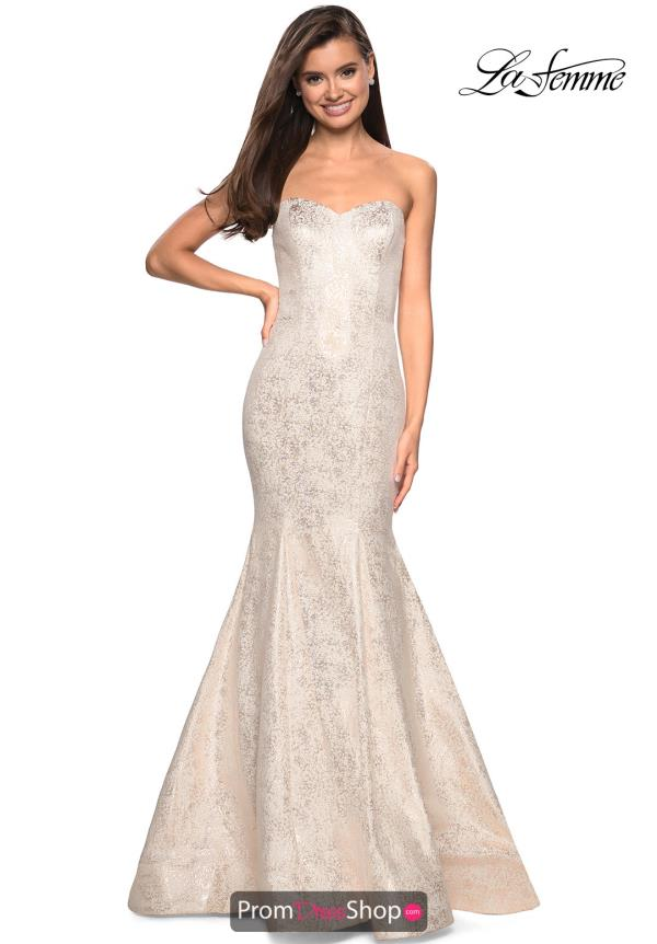 La Femme Long Ivory Dress 27789