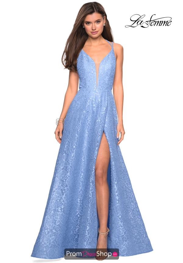 La Femme V-Neck Beaded Dress 27612