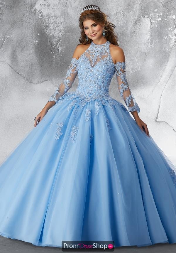 Vizcaya Quinceanera Sleeved Beaded Gown 89192