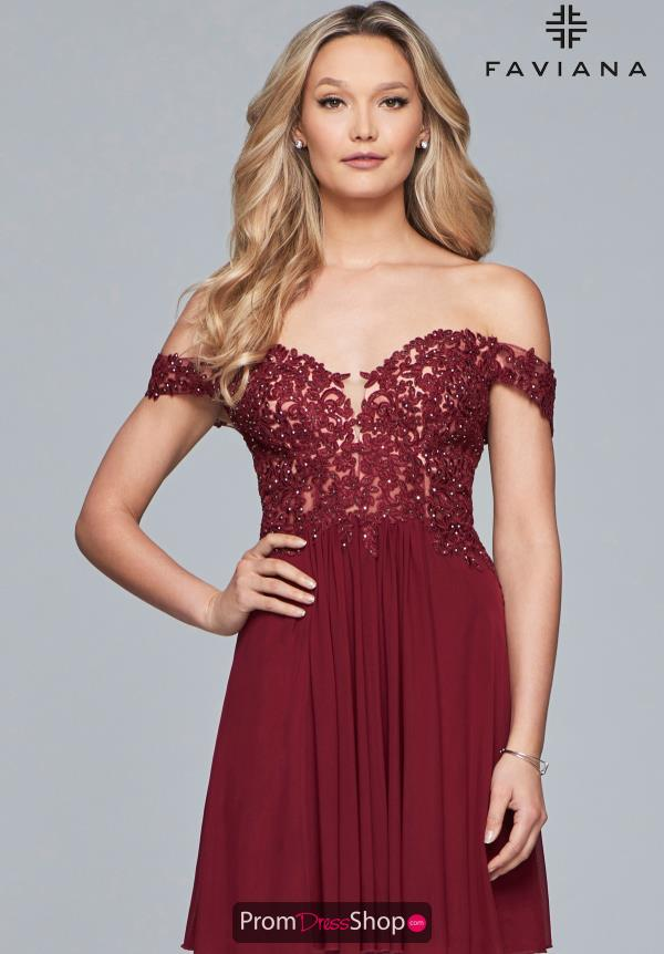 Faviana Off the Shoulder Lace Dress 10155