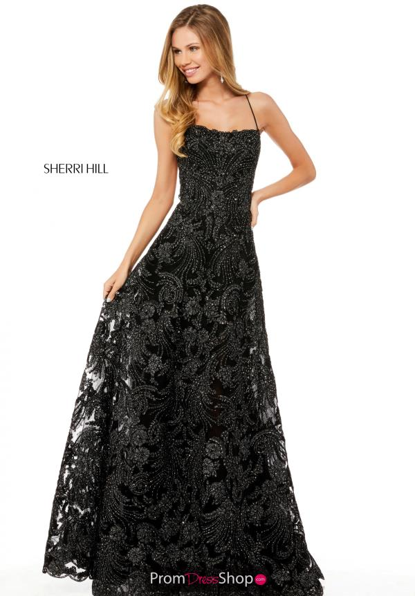 Sherri Hill Long Lace Dress 52240