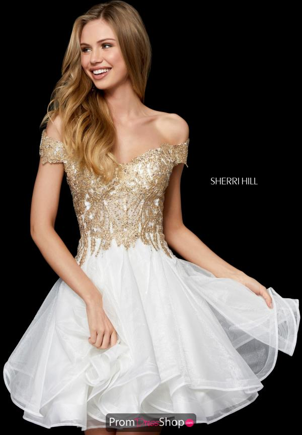 Off The Shoulder Sherri Hill A Line Dress 52239