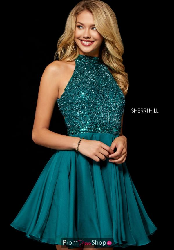 Sherri Hill Short Beaded A-Line Dress 52281