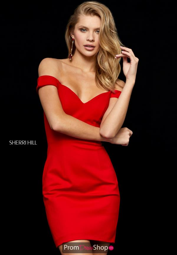 Sherri Hill Short Sexy Off the Shoulder Dress 52297