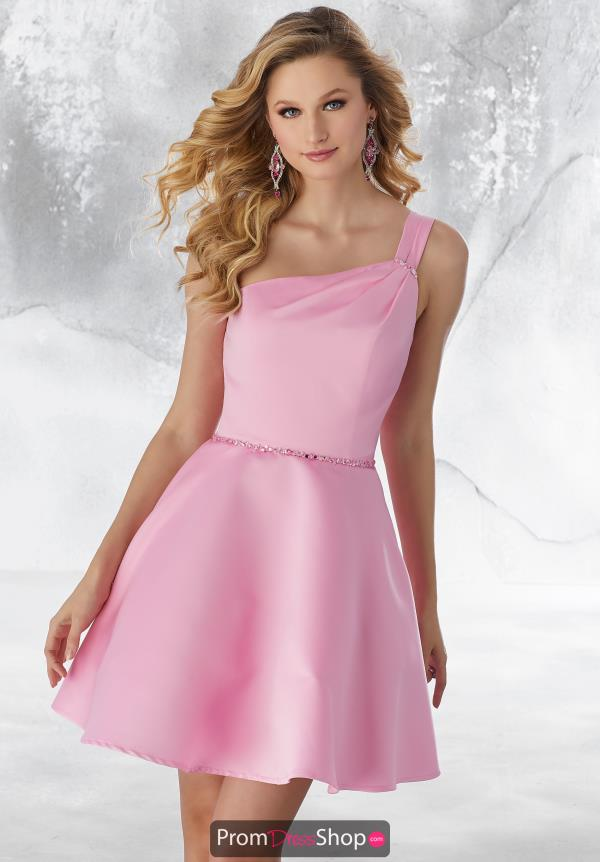 Mori Lee Sticks & Stones Short Satin Dress 9486