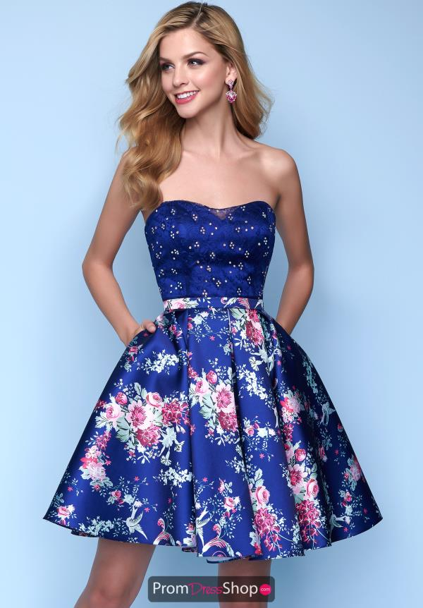 Splash Floral Sweetheart Dress E201