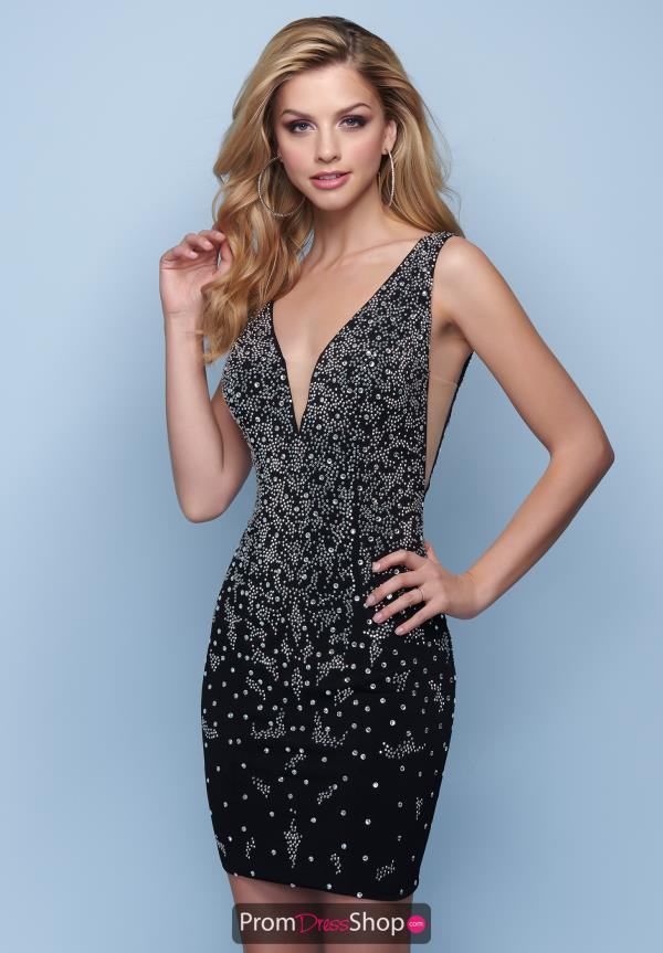 Fitted Beaded Short Splash Dress E202