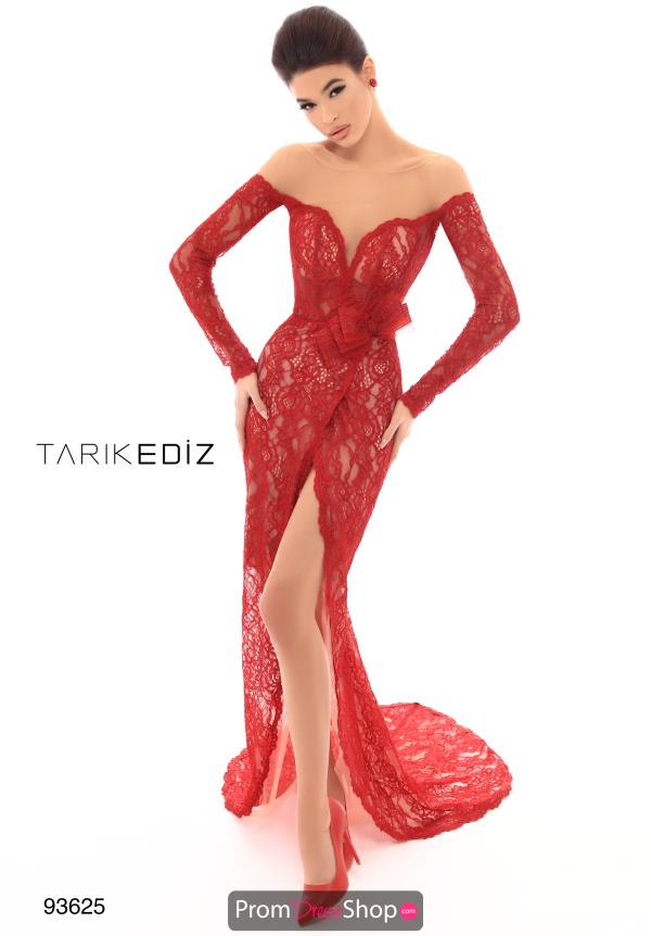Tarik Ediz Long Sleeve Off the Shoulder Dress 93625