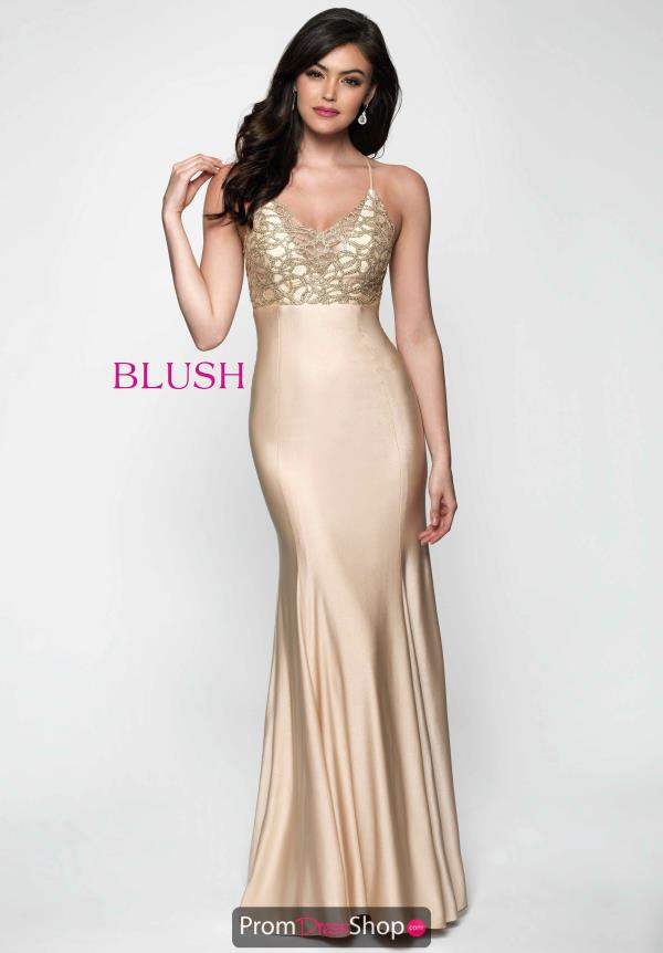 Beaded Long Blush Dress 11630