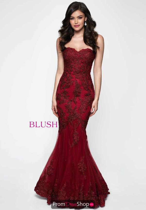 Blush Strapless Lace Dress 11652