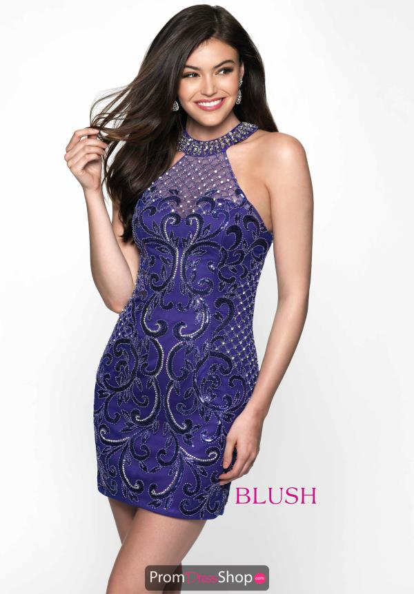 Blush Short Beaded Dress B100